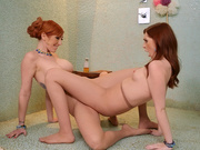 Cheating wife Lauren Phillips tribbing in pantyhose with Maya Kendrick
