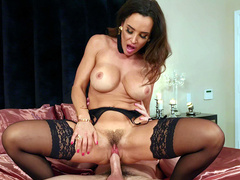 Wife Lisa Ann cowgirl riding her pathetic cheating husband