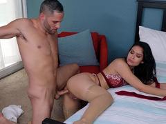 Katana Kombat backs her pussy back and forth on Damon's big cock