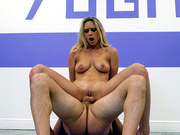 Hot blonde Addie Andrews rides her yoga teacher balls deep