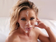 Blonde beauty Jessa Rhodes gets her face creamed with cum