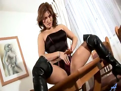 Lesbian strap-on dildo action with Valentine Rush