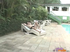 Hot threesome with tranny at outdoors