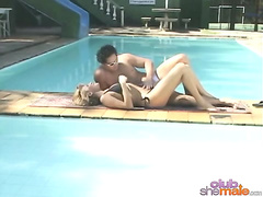 Ass banging blonde shemale at poolside