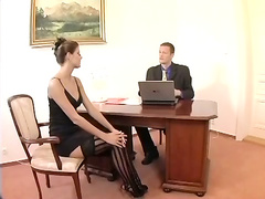 Nerdy secretary sex in thigh high stockings