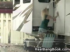 Horny blonde whore gets fucked outdoor 1 by RealBangBook
