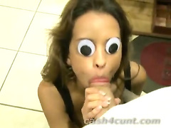 Cash buys funny blowjob from a googly eyed brunette