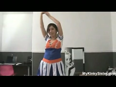 Naughty cheerleader stretching session
