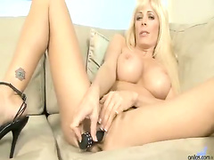 Busty Blonde Cougar spreads and fucked