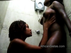 Hot African Lisha gets her pussy licked by Aisha in shower
