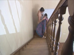 sucking and penetrate on the stairs